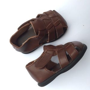 Brown Leather Gymboree fisherman sandals s…